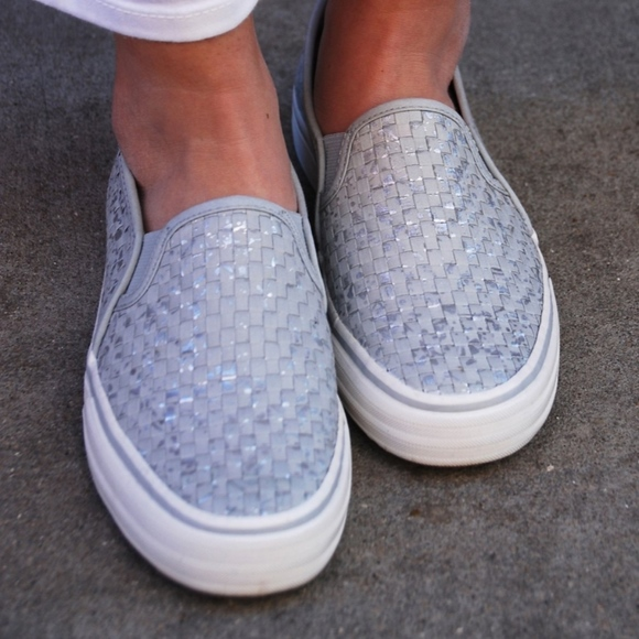 6dd59cc27 Keds Shoes | Double Decker Woven Metallic Slip On Sneaker | Poshmark